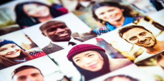 Outlay of multiracial faces printed